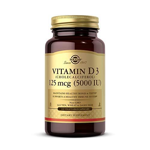 Solgar Vitamin D3 Cholecalciferol 125 mcg 5000 IU Vegetable Capsules Helps Maintain Healthy Bones Teeth Immune System Support NonGMO Gluten Free Dairy Free Kosher Servings, 360 Count