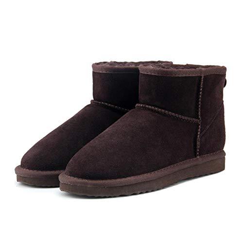 ZapatillascasaNuevas Botas De Nieve De Invierno para Mujer, Zapatos De Tobillo De Cuero para Mujer, Botas Negras De Invierno Cálido, 5 Chocolate
