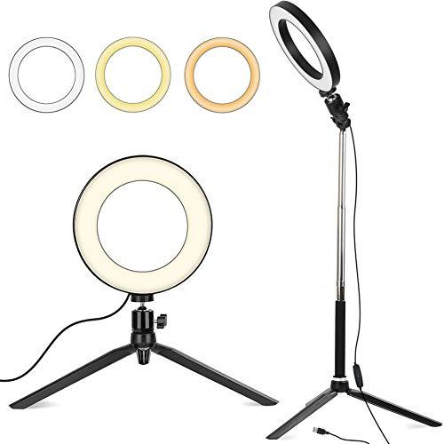 """EEEKit 6\""""Dimmbares Ringlicht, Selfie-Live-Stream-Beleuchtung mit St?nderst?nder für Make-up-Fotografie, Outdoor-Videobeleuchtungsset (3 Lichtmodi)"""