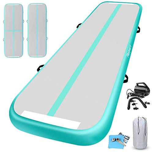 KIKILIVE Inflatable Gymnastics Mat 4 /8inches Thickness Length Between 10ft to 39ft Air Gymnastics Track Mat Gym Mats with Electric Air Pump for Training/Cheerleading/Training