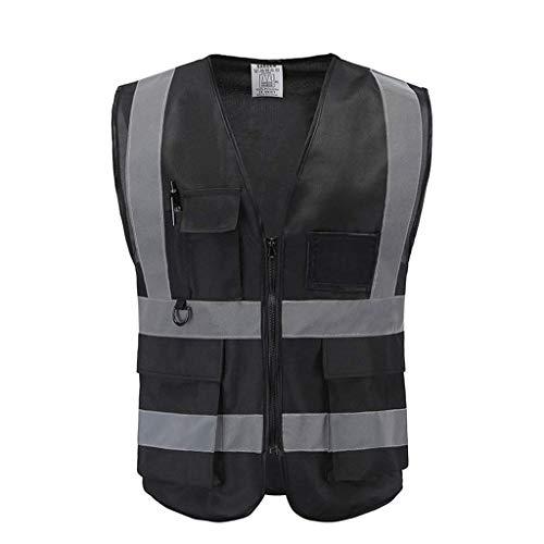 DBSCD Chaleco de Seguridad para Hombres, Chaleco de Seguridad Reflectante Negro Ropa de Trabajo Multibolsillos Ligera y Transpirable Chaleco de Alta Visibilidad