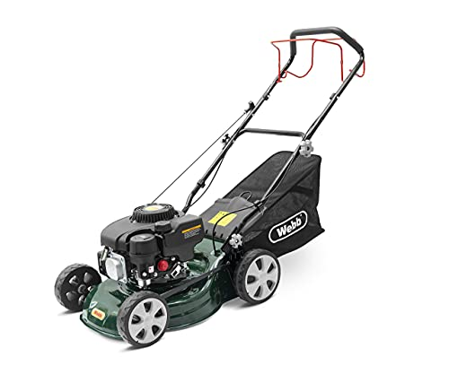 Webb Classic WER410SP Self Propelled 4 Wheel Petrol Rotary Lawnmower, 7 Cutting Heights, 41cm Cutting Width and 45L Collection Bag - 2 Year Guarantee