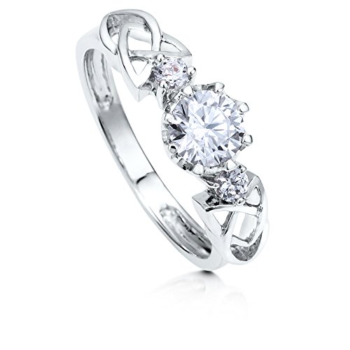 BERRICLE Rhodium Plated Sterling Silver Round Cubic Zirconia CZ 3-Stone Celtic Knot Promise Wedding Engagement Ring 0.9 CTW Size 4