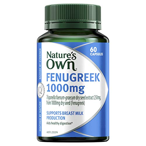 Nature's Own Fenugreek 1000mg - Traditionally Used to Support Healthy Digestion and Improve Breast Milk Production, 60 Capsules