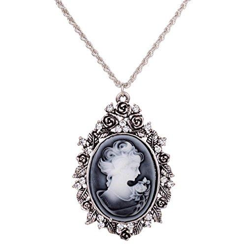 YAZILIND Yaizlind Collar Pendiente de Plata Retro Plateado Diamante de imitación embutido Chica Cadena...