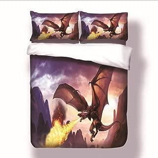 StarFashion Duvet Cover Set with Zipper Closure-3 Piece Game of Thrones Dragon Fire Splatter (1 Duvet Cover + 2 Pillow Shams) Ultra Soft Hypoallergenic Microfiber No Comforter (Twin)