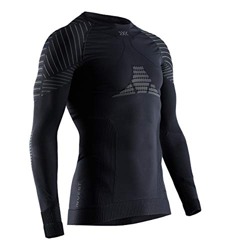 X-BIONIC Invent 4.0 Shirt Round Neck Long Sleeves Men T-Shirt de Sport Maillot de Compression Homme Black/Charcoal FR : S (Taille Fabricant : S)