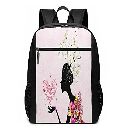 Schulrucksack Mode Blumenmädchen Blumenhaar, Schultaschen Teenager Rucksack Schultasche Schulrucksäcke Backpack für Damen Herren Junge Mädchen 15,6 Zoll Notebook