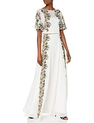 Frock and Frill Joyce Embroidered Maxi Dress Vestito da Sera Formale, Cream, X-Small Donna