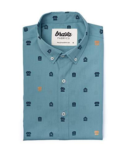 Brava Fabrics - Camicia da Uomo a Maniche Lunghe Stampata - Camicia Blu da Uomo - Camicia Casual Regular Fit - 100% Cotone - Modello Toy Robots - Taglia S