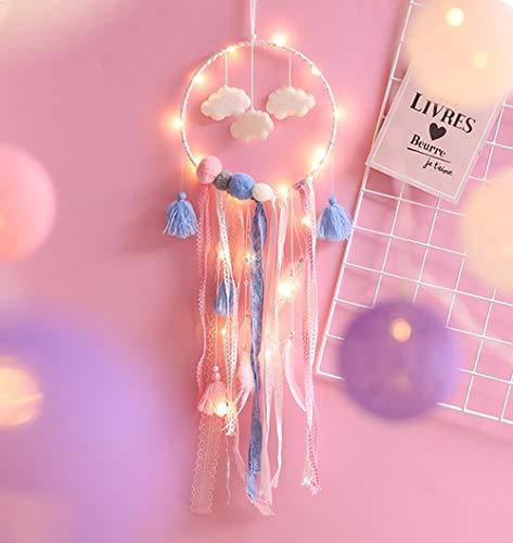 Nice Dream Traumfänger mit LED Licht für Kinder, Handgemachte Dreamcatcher mit Kleinen Wolken Federn und Spitze, Maiden Zimmer Schlafzimmer Romantische Dekoration Geschenk