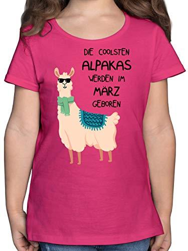 Geburtstag Kind - Die coolsten Alpakas Werden im März geboren Sonnenbrille - 164 (14/15 Jahre) - Fuchsia - adventskalender 2018 Kinder - F131K - Mädchen Kinder T-Shirt