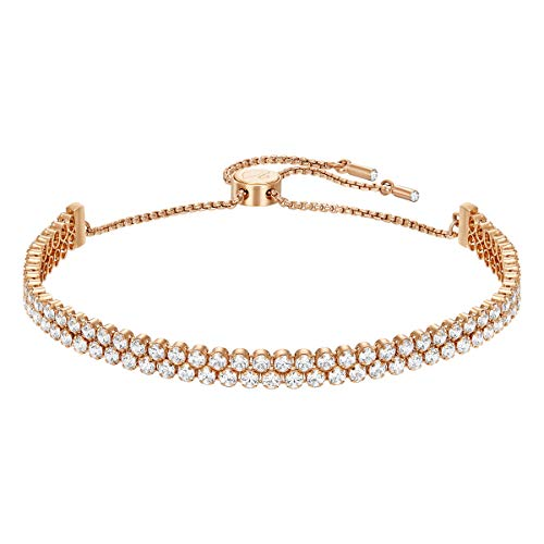 Swarovski Women's Subtle Bracelet, Brilliant White Crystals with Rose-gold Tone Plated Metal Chain, from the Swarovski Subtle Collection