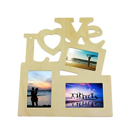 """Cornice portafoto in legno 3 in 1 con scritta in inglese """"Love"""" in legno, decorazione per la casa"""