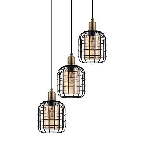 EGLO Lampadario a sospensione Chisle, 3 luci, lampada a sospensione moderna, in metallo nero e vetro vaporizzato color ambra, lampada da tavolo da pranzo, lampada da soggiorno con attacco E27