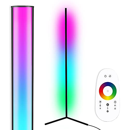 "TACAHE Corner Floor Lamp - RGB Color Changing Mood Lighting, Dimmable LED Modern Floor Lamp with Remote, 56"" Metal Standing Lamp for Living Room, Bedroom 20W - Black"