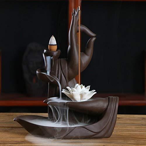 Quemador de incienso de reflujo con cono de incienso con 10 piezas y caja de regalo, quemador de incienso de reflujo para el hogar en cerámica decorativa