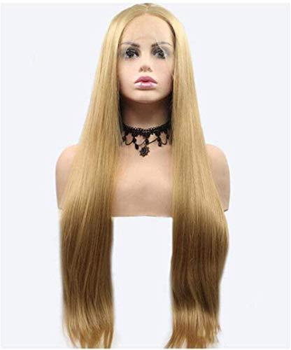 Moda Rubio Cabello recto Encaje frente Pelucas rubio oro sintético onda natural Cosplay chica fiesta de lujo uso diario actor estrella ancla A-A