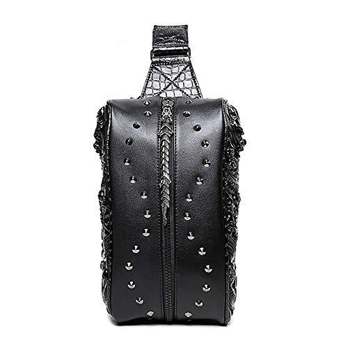 AmzGxp Dragón 3D patrón de un hombro, diagonal pequeño, bolsa de pecho, punk rock negro, bolso de la cintura, mujer, cuero, PU, deportes al aire libre con doble bolsa de dragón remaches de metal Cóm (Cocina)