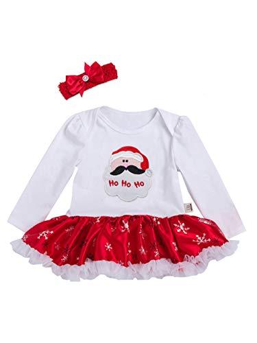 URBEAR Neonata Bambina Mio Primo Costume della Santa del Partito del Abitini Vestito 2 pz Babbo Natale 18-36 Mesi