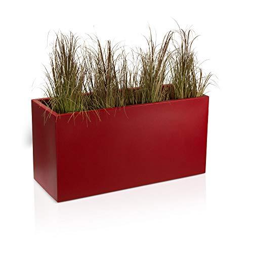 Pot de fleurs VISIO 50 Plastique Bac à Plantes, 100x40x50 cm, rouge mat, garantie de 8 ans (résistance aux UV), résistant au gel - DECORAS bac à plantes haut de gamme