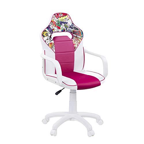 DRW Sticker, Silla Gamer, Silla de Oficina Gaming Estudio o Escritorio, Acabado en Símil Piel Blanco - Rosa y Sticker, Medidas: 60 cm (Ancho) x 60 cm (Fondo) x 98-108 cm (Alto)