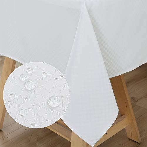 WELTRXE Tischdecke, Tischtuch aus Polyester mit Lotuseffekt Wasserabweisend Abwaschbar Tisch Decke, Tischwäsche Größe & Farbe wählbar 120 × 160 schlohweiß