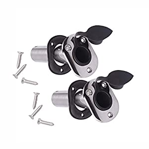 M-ARINE BABY 2PCS Flush Mounting Fishing Rod Holders with Rubber Cap, Liner and Gasket (Screws Included) (15 Degree)