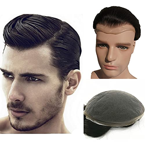 Human Hair Toupee for men NLW European Human Hair Pieces Mens 10x8' Super fine French Lace human hair replacement system for man #1B Off Black