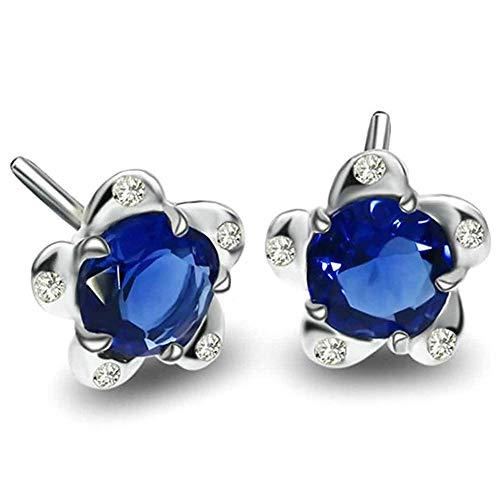 Women Earrings Silver Plated Flowers Shape Ear Studs Women's Earrings Novelty Jewelry- Silver Blue with Blue Cubic Zirconia Bracelets Earrings Rings Necklaces