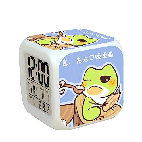Kids nachtkastje digitale wekker LED kleurrijk nachtlicht sfeerwekker vierkant klok aanrakingsschakelaar stille reis kleine wekker met USB-oplaadaansluiting cadeau voor kinderen Q9622