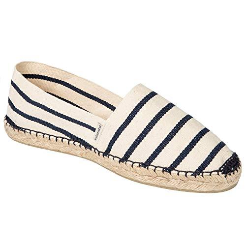 weltenmann Klassische Gestreifte Herren Slip-on Espadrilles aus Baumwolle mit Schuhbeutel, Zebra, 42, Handmade in Spain