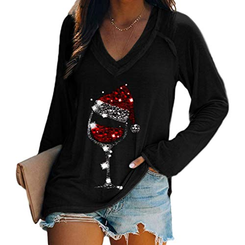 Womens Christmas Pullover Shirts Red Wine Glass Print Long Sleeve Tops V Neck Blouse Tops,Black 003 M
