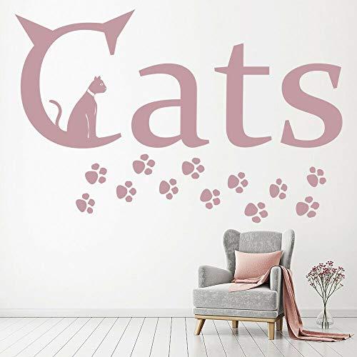 HGFDHG Calcomanías de Pared de Animales Impresiones de Patas de Gato Palabras Creativas Pegatinas de Vinilo para Ventanas Dormitorio guardería Tienda de Mascotas decoración de Interiores Mural Lindo