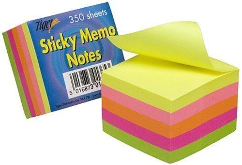 Tiger Haftzettel, quadratisch, 5 cm Kantenlänge, Neonfarben, 350 Blatt Klebezettel, 350 Stück Einzelpackung