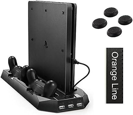 新型PS4スリム用 縦置きスタンド コントローラー2台充電 USBハブ3ポート 【1年保証付き】【Orange Line】【ブラック slimfan】