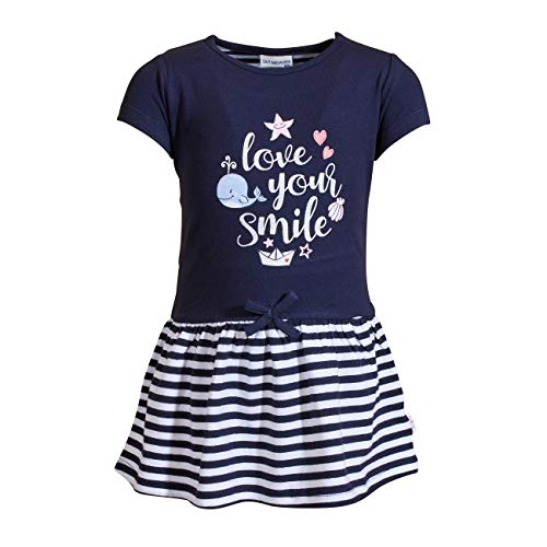 SALT AND PEPPER Baby-Mädchen Dress Seaside Glitter Print Kinderkleid, Navy, 86