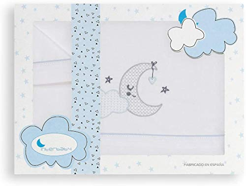 Juego de sabana para cuna 60x120 cm 100% algodon fabricado en españa (encimera+bajera ajustable+funda almohada) (luna azul)