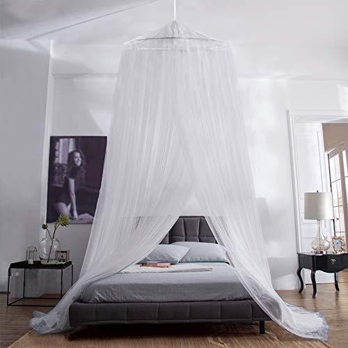 Aerb Mosquitera Cama, Mosquiteras Ligeras para Viaje, Cama de Matrimonio, Cama Individual, Cunas o Cama para Infantil contra Mosquitos y Insectos Instalacion Simple (Blanco)
