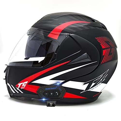 QZH Motorbike Bluetooth Motorcycle Casco, Flip Modular Up Cascos de Cara Completa Visores duales incorporados MP3 FM Radio Dot/Casco Bluetooth Aprobado por Motocicleta ECE,C,S55to56CM