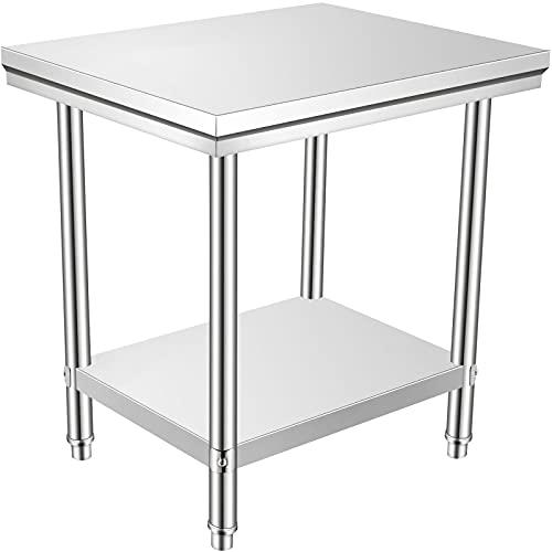 VEVOR 60 x 90 x 80 cm Piano di Lavoro per Cucina Professionale Acciaio Inox, Tavolo da Lavoro da Cucina Piano di Lavoro Inox, Tavolo da Lavoro per Cucina Professionale in Acciaio Inox con Baclsplash