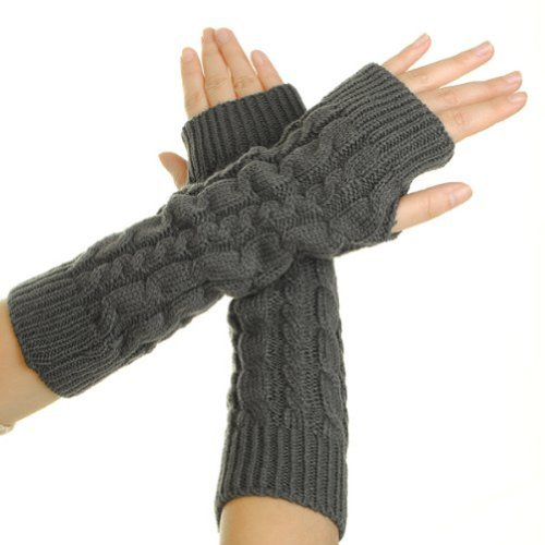 Aftermarket Women Lady Girl Knitted Crochet Long Soft gloves Winter Warmer Braided Arm Fingerless Gloves Stretchy Wamer Knitting Thumb Hole Gloves Mittens Winter Hand Warmer Great gif t for Xmas (Dark Grey)
