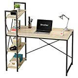 Bestier Computer Desk with Storage Shelves 47 Inch Home Office Desk Writing Study Table for Small Space, Oak