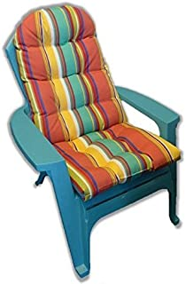 Outdoor Tufted Adirondack Chair Cushion - Red, Orange, Blue, Yellow, White Bright/Colorful Stripe