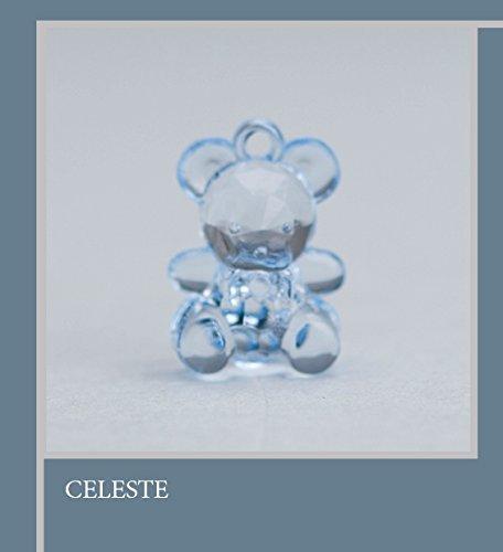 Confezione 50 pezzi, Bomboniera applicazione ORSETTO in plastica, dimensione cm1.5X2, per segnaposto, composizione confetti. (ck6112) (CELESTE)