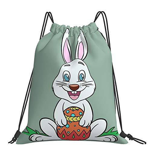 MBNGDDS - Zaino con coulisse per uova di Pasqua, coniglio con uovo di Pasqua, sport, palestra, escursionismo, yoga, nuoto, viaggi, spiaggia, per donne e uomini - bianco - taglia unica