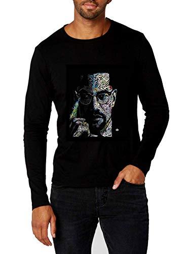 Men's Black Long Sleeve T Shirt Malcolm X (Large)