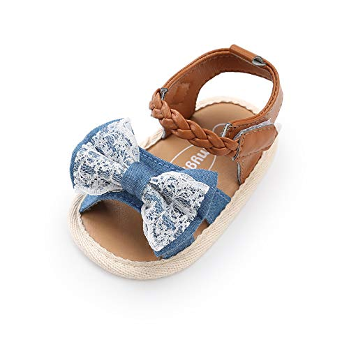 CoKate Baby Boys Girls Sandals Rubber Sole Outdoor First Walker Toddler Girls Boys Summer Shoes, E-denim Lace, 9-12 Months Infant