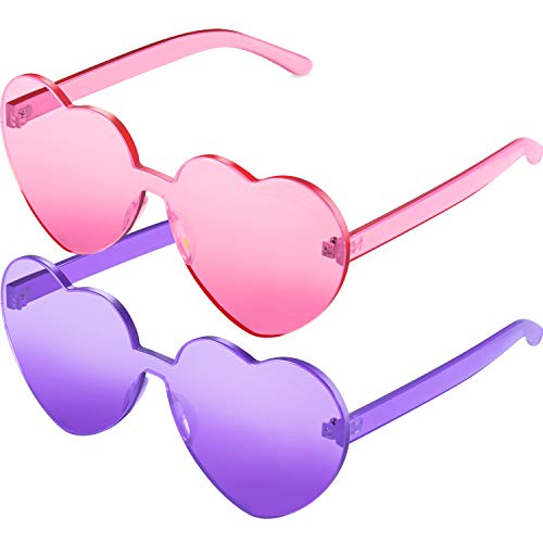 2 Pieces Heart Shape Rimless Sunglasses Transparent Candy Color Frameless Glasses Love Eyewear (Transparent Pink Purple)