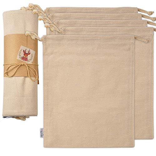 SMALL FISH Organic Cotton Produce Bags 5 Pcs Large Organic and Reusable Canvas Muslin Drawstring Sack for Organizing Shopping Storage Grocery Dust Cover and Gift